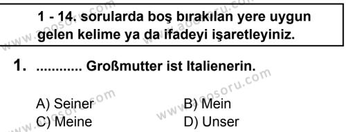 Almanca 5 Dersi 2012 - 2013 Yılı 2. Dönem Sınavı 1. Soru