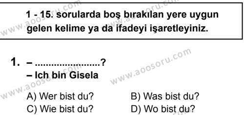 Almanca 5 Dersi 2012 - 2013 Yılı 3. Dönem Sınavı 1. Soru