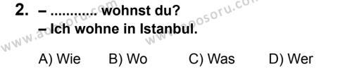 Almanca 5 Dersi 2012 - 2013 Yılı 3. Dönem Sınavı 2. Soru