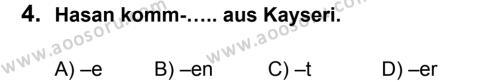 Almanca 5 Dersi 2012 - 2013 Yılı 3. Dönem Sınavı 4. Soru