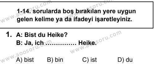 Almanca 5 Dersi 2013 - 2014 Yılı 1. Dönem Sınavı 1. Soru