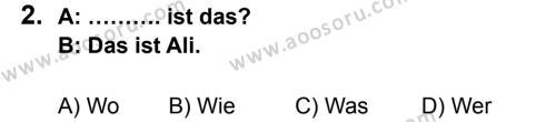 Almanca 5 Dersi 2013 - 2014 Yılı 1. Dönem Sınavı 2. Soru
