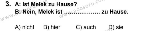 Almanca 5 Dersi 2013 - 2014 Yılı 1. Dönem Sınavı 3. Soru