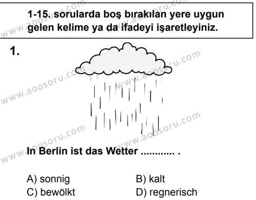 Almanca 5 Dersi 2013 - 2014 Yılı 2. Dönem Sınavı 1. Soru