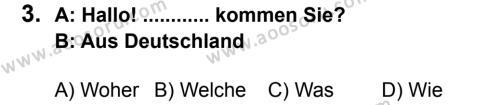 Almanca 5 Dersi 2013 - 2014 Yılı 2. Dönem Sınavı 3. Soru