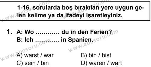 Almanca 5 Dersi 2014 - 2015 Yılı 1. Dönem Sınavı 1. Soru