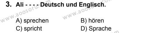 Almanca 5 Dersi 2015 - 2016 Yılı 1. Dönem Sınavı 3. Soru