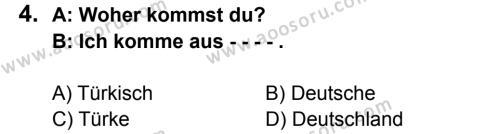Almanca 5 Dersi 2015 - 2016 Yılı 1. Dönem Sınavı 4. Soru