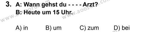 Almanca 5 Dersi 2015 - 2016 Yılı 2. Dönem Sınavı 3. Soru