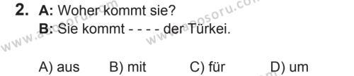 Almanca 5 Dersi 2017 - 2018 Yılı 2. Dönem Sınavı 2. Soru