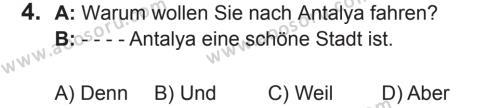 Almanca 5 Dersi 2017 - 2018 Yılı 2. Dönem Sınavı 4. Soru