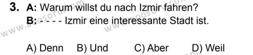 Almanca 5 Dersi 2017 - 2018 Yılı 3. Dönem Sınavı 3. Soru