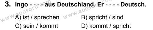 Almanca 5 Dersi 2018 - 2019 Yılı 1. Dönem Sınavı 3. Soru