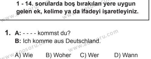 Almanca 5 Dersi 2018 - 2019 Yılı 2. Dönem Sınavı 1. Soru