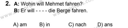 Almanca 5 Dersi 2019 - 2020 Yılı 2. Dönem Sınavı 2. Soru