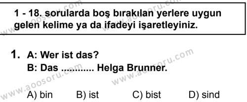 Almanca 6 Dersi 2011 - 2012 Yılı 2. Dönem Sınavı 1. Soru