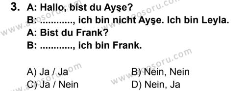 Almanca 6 Dersi 2011 - 2012 Yılı 2. Dönem Sınavı 3. Soru