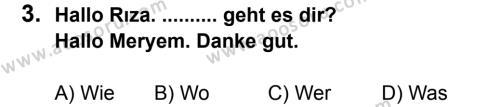 Almanca 6 Dersi 2011 - 2012 Yılı 3. Dönem Sınavı 3. Soru