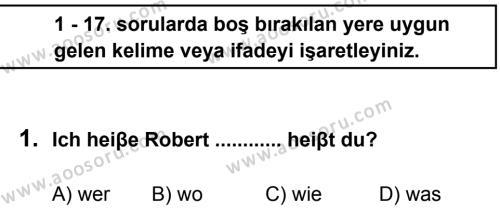 Almanca 6 Dersi 2012 - 2013 Yılı 1. Dönem Sınavı 1. Soru