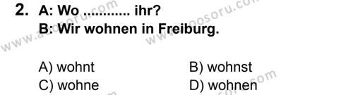 Almanca 6 Dersi 2012 - 2013 Yılı 2. Dönem Sınavı 2. Soru