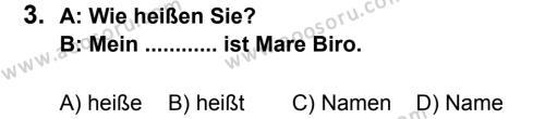 Almanca 6 Dersi 2012 - 2013 Yılı 2. Dönem Sınavı 3. Soru