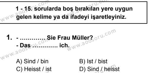 Almanca 6 Dersi 2012 - 2013 Yılı 3. Dönem Sınavı 1. Soru