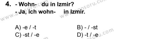 Almanca 6 Dersi 2012 - 2013 Yılı 3. Dönem Sınavı 4. Soru