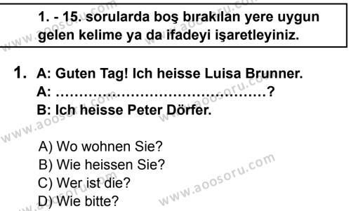 Almanca 6 Dersi 2013 - 2014 Yılı 1. Dönem Sınavı 1. Soru