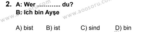 Almanca 6 Dersi 2013 - 2014 Yılı 1. Dönem Sınavı 2. Soru