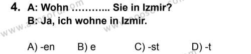 Almanca 6 Dersi 2013 - 2014 Yılı 1. Dönem Sınavı 4. Soru
