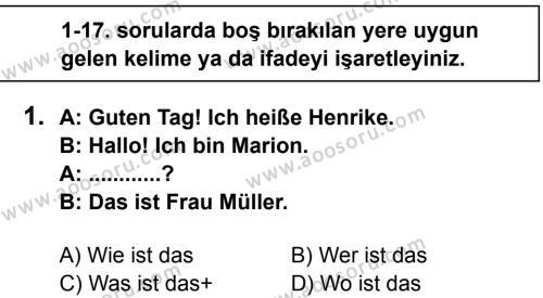 Almanca 6 Dersi 2013 - 2014 Yılı 2. Dönem Sınavı 1. Soru