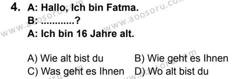 Almanca 6 Dersi 2013 - 2014 Yılı 2. Dönem Sınavı 4. Soru
