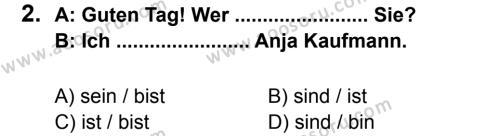 Almanca 6 Dersi 2013 - 2014 Yılı 3. Dönem Sınavı 2. Soru