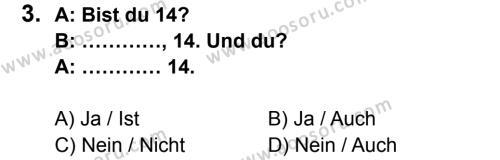 Almanca 6 Dersi 2014 - 2015 Yılı 1. Dönem Sınavı 3. Soru
