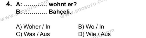 Almanca 6 Dersi 2014 - 2015 Yılı 1. Dönem Sınavı 4. Soru