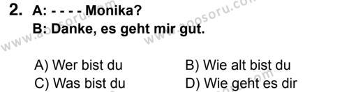 Almanca 6 Dersi 2014 - 2015 Yılı 3. Dönem Sınavı 2. Soru