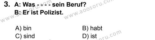 Almanca 6 Dersi 2014 - 2015 Yılı 3. Dönem Sınavı 3. Soru