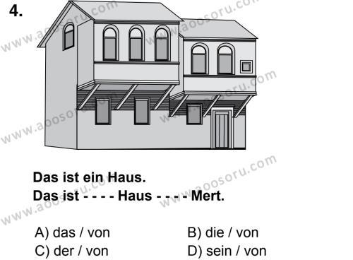 Almanca 6 Dersi 2014 - 2015 Yılı 3. Dönem Sınavı 4. Soru