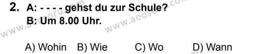 Almanca 6 Dersi 2016 - 2017 Yılı 1. Dönem Sınavı 2. Soru