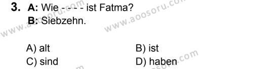 Almanca 6 Dersi 2016 - 2017 Yılı 2. Dönem Sınavı 3. Soru