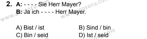 Almanca 6 Dersi 2017 - 2018 Yılı 3. Dönem Sınavı 2. Soru