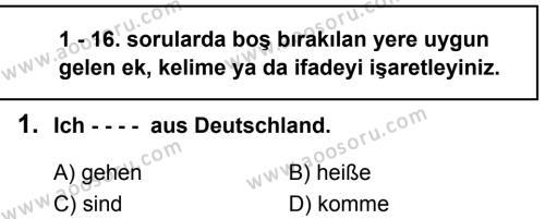 Almanca 6 Dersi 2019 - 2020 Yılı 1. Dönem Sınavı 1. Soru