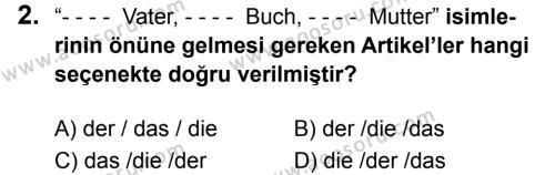 Almanca 6 Dersi 2019 - 2020 Yılı 1. Dönem Sınavı 2. Soru