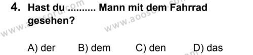 Almanca 7 Dersi 2011 - 2012 Yılı 3. Dönem Sınavı 4. Soru