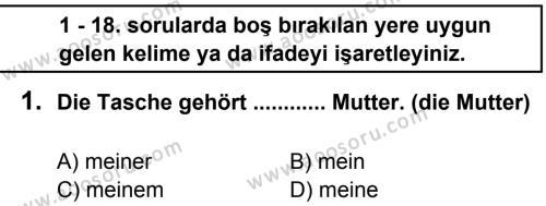Almanca 7 Dersi 2012 - 2013 Yılı 1. Dönem Sınavı 1. Soru