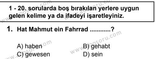 Almanca 7 Dersi 2012 - 2013 Yılı 2. Dönem Sınavı 1. Soru