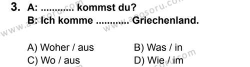 Almanca 7 Dersi 2012 - 2013 Yılı 2. Dönem Sınavı 3. Soru
