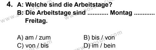 Almanca 7 Dersi 2012 - 2013 Yılı 2. Dönem Sınavı 4. Soru