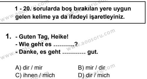 Almanca 7 Dersi 2012 - 2013 Yılı 3. Dönem Sınavı 1. Soru
