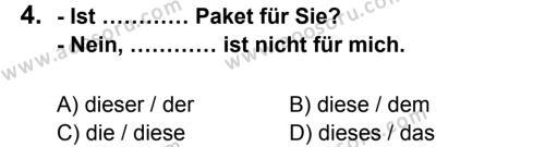 Almanca 7 Dersi 2012 - 2013 Yılı 3. Dönem Sınavı 4. Soru
